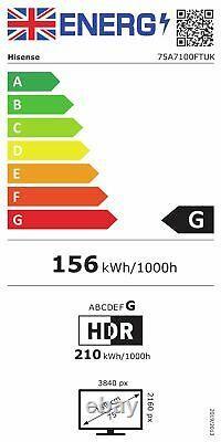 Hisense 75A7100FT 75 Inch 4K Ultra HD HDR Smart WiFi LED TV Black