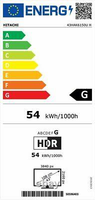 Hitachi 43HAK6150UH 43 Inch 4K Ultra HD Freeview Play WiFi LED Smart TV