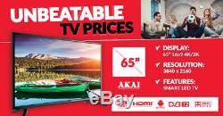 Akai Jj654ks Téléviseur Wi Fi Ultra Hd 4k Intelligent Hd De 65 Pouces Avec Technologie Tnt Et Android