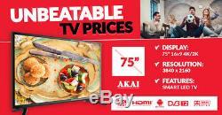 Akai Jj754ks Téléviseur Wi Fi Ultra Hd 4k Intelligent Hdd De 75 Pouces Avec Tnt Et Android