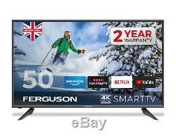 Ferguson 50 Pouces 4k Ultra Hd Led Smart Tv Avec Wifi 3 X Hdmi, Usb. Fait Au Royaume-uni