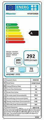Hisense H75b7510uk 75 Pouces 4k Ultra Hd Freeview Smart Wifi Tv Led