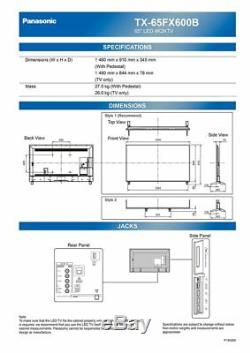 Panasonic Tx-65fx600b Téléviseur Del Intelligent 4k Hdr Ultra Hd 1600 Hz 1600 Hz Avec Technologie Tnt