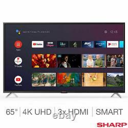 Sharp 4t-c65bl5kf2ab 65 Pouces 4k Ultra Hd Smart Android Tv Gratuit 5 Ans Garantie